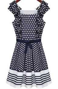 Blue Sleeveless Polka Dot Pleated Dress