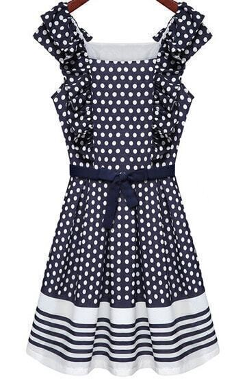 Blue Sleeveless Polka Dot Pleated Dress