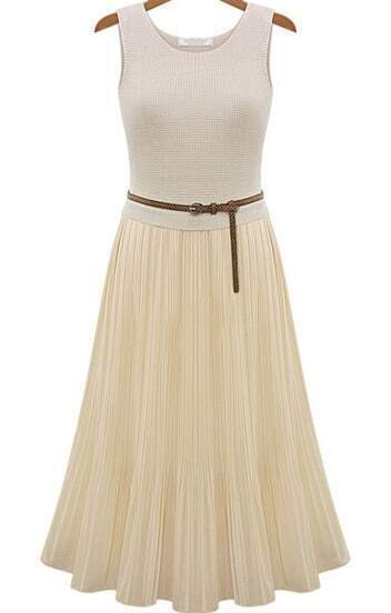 Apricot Sleeveless Slim Pleated Chiffon Dress