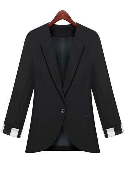 Black Lapel Long Sleeve Fitted Blazer