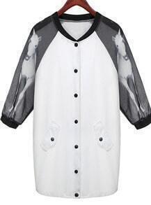White Contrast Chiffon Half Sleeve Horse Print Coat