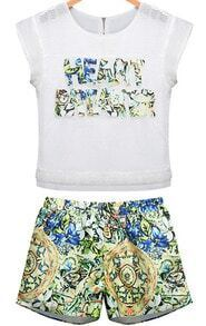 White Short Sleeve Mesh Yoke Top With Floral Shorts