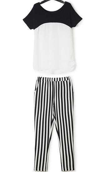 Black White Short Sleeve Chiffon Top With Vertical Stripe Pant