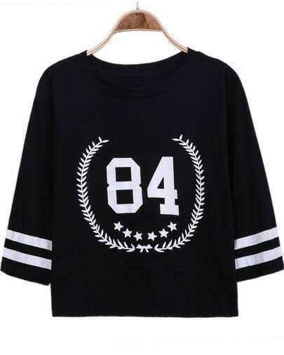 Black Half Sleeve 85 Print Loose T-Shirt