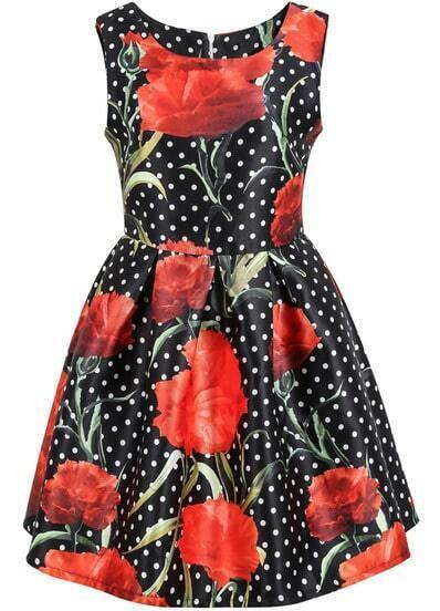 Black Sleeveless Polka Dot Floral Dress
