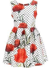 White Sleeveless Polka Dot Floral Dress