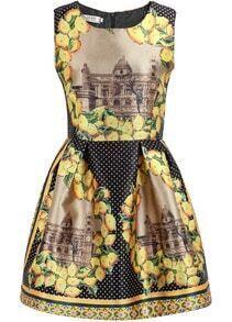 Black Sleeveless Polka Dot Lemon Print Dress