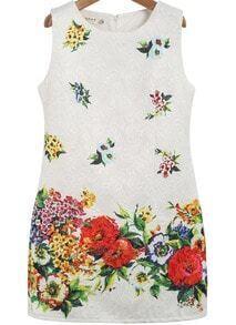 White Sleeveless Floral Jacquard Tank Dress