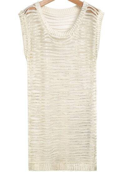 Beige Sleeveless Hollow Striped Knit Dress