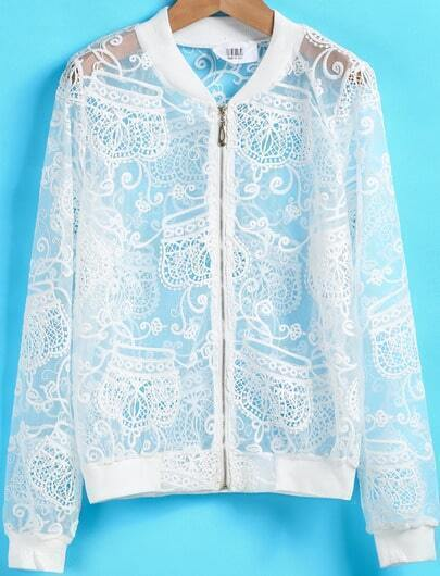 White Long Sleeve Crown Embroidered Sheer Jacket