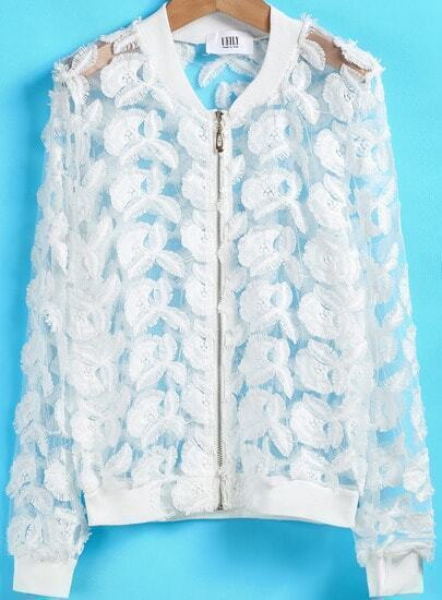 White Long Sleeve Embroidered Sheer Jacket