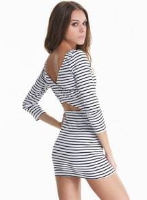 White Black Long Sleeve Striped Cut Out Back Dress