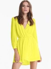 Neon Yellow Long Sleeve V Neck Wrap Fornt Dress