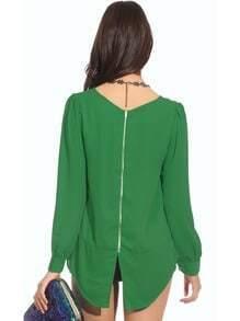 Green Long Sleeve Zip Split Back Blouse