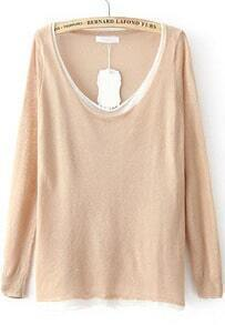 Apricot Long Sleeve Loose Knit Sweater