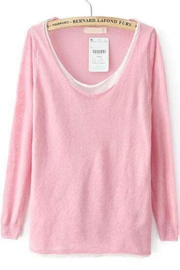 Pink Long Sleeve Loose Knit Sweater