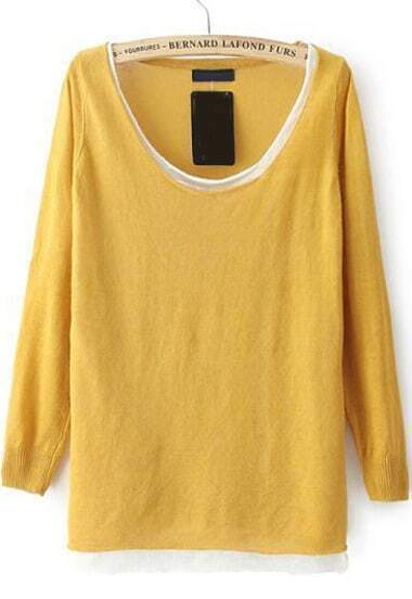 Yellow Long Sleeve Loose Knit Sweater