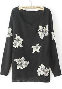 Black Long Sleeve Embroidered Knit Loose Sweater