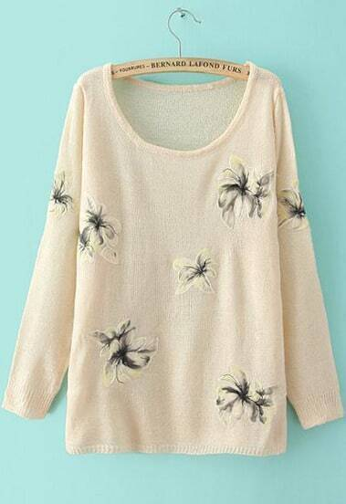 Apricot Long Sleeve Embroidered Knit Loose Sweater