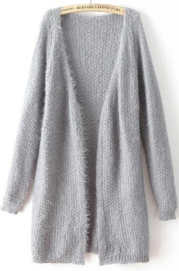 Grey V Neck Long Sleeve Loose Knit Cardigan