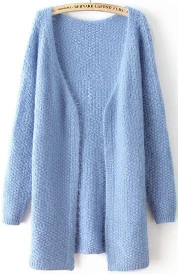 Blue V Neck Long Sleeve Loose Knit Cardigan