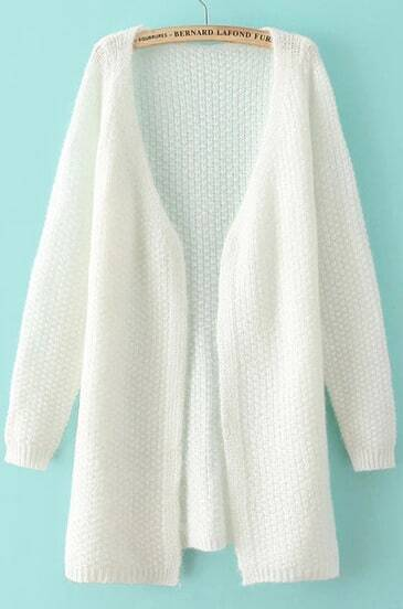 White V Neck Long Sleeve Loose Knit Cardigan