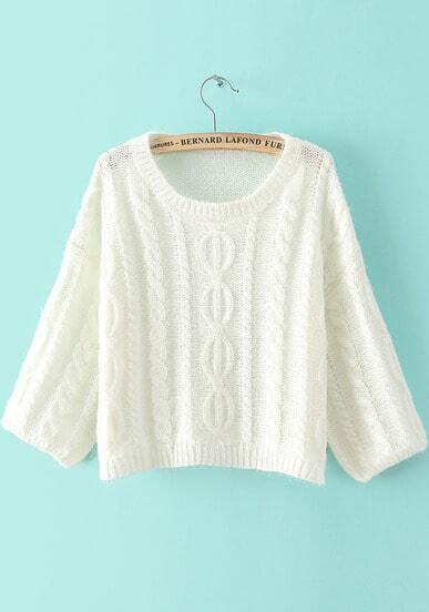 White Long Sleeve Loose Cable Knit Sweater
