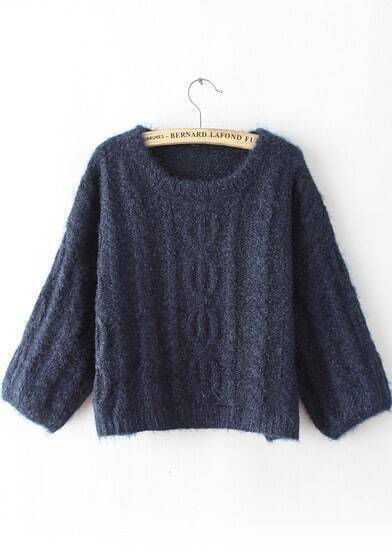 Navy Long Sleeve Loose Cable Knit Sweater