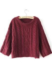 Red Long Sleeve Loose Cable Knit Sweater