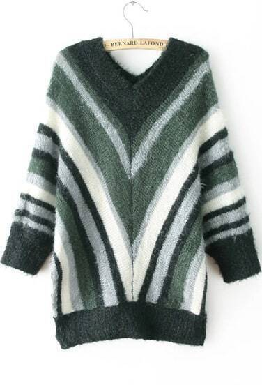 Green V Neck Batwing Long Sleeve Striped Sweater