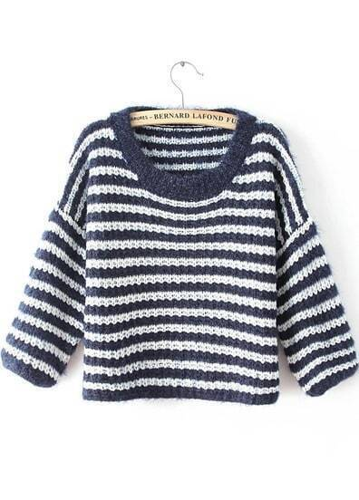 Navy Round Neck Striped Knit Sweater