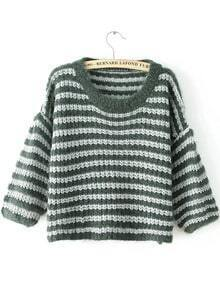 Green Round Neck Striped Knit Sweater