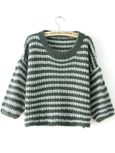 Green Round Neck Striped Knit Sweater
