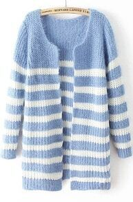 Blue Long Sleeve Striped Knit Cardigan