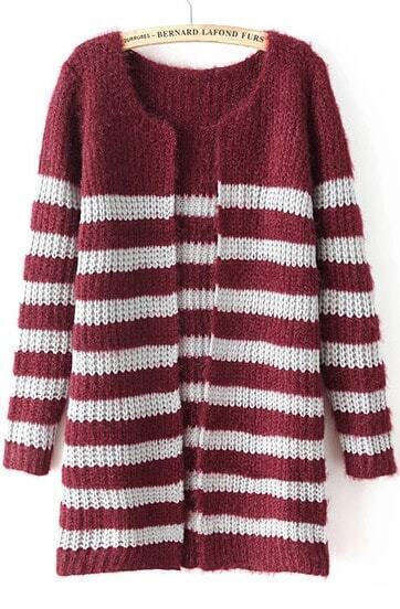 Red Long Sleeve Striped Knit Cardigan