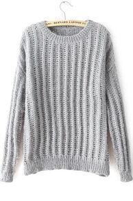 Grey Round Neck Long Sleeve Loose Knit Sweater