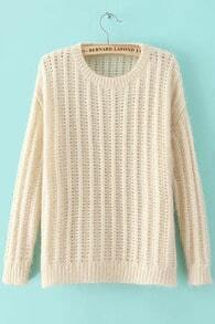 Apricot Round Neck Long Sleeve Loose Knit Sweater