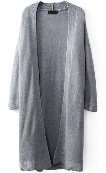 Grey Long Sleeve Knit Loose Cardigan