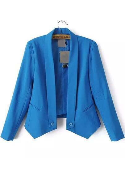 Blue Lapel Long Sleeve Pockets Crop Blazer
