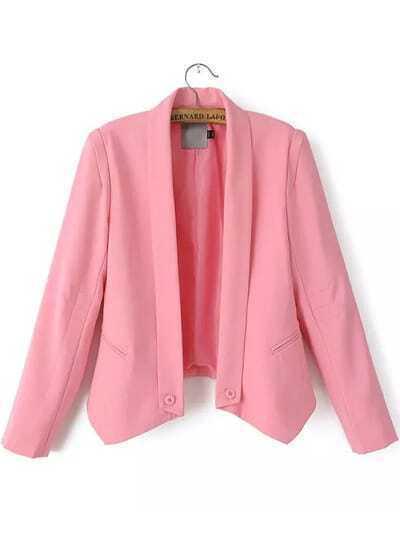 Pink Lapel Long Sleeve Pockets Crop Blazer