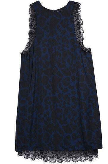 Blue Sleeveless Lace Leopard Bodycon Dress