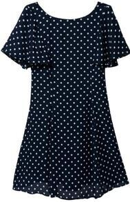 Navy Short Sleeve Polka Dot Chiffon Dress