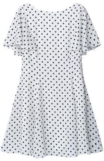 White Short Sleeve Polka Dot Chiffon Dress