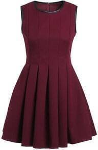 Wine Red Contrast PU Leather Trims Pleated Dress