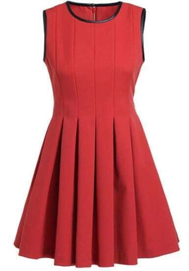 Red Contrast PU Leather Trims Pleated Dress