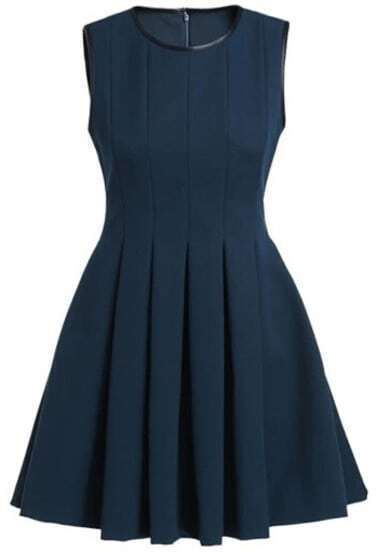 Navy Contrast PU Leather Trims Pleated Dress