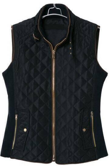 Black Stand Collar Sleeveless Diamond Patterned Vest