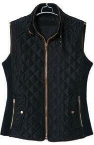Black Stand Collar Sleeveless Diamond Patterned Vest