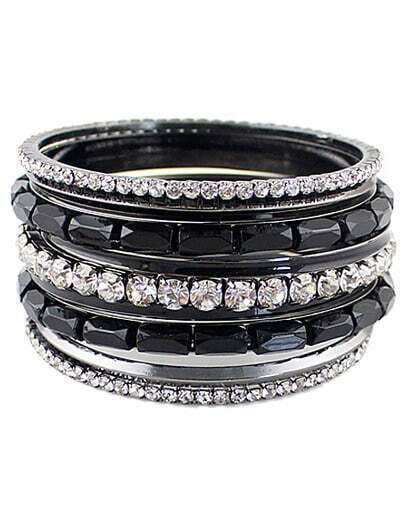 Silver Diamond Multilayer Bracelet