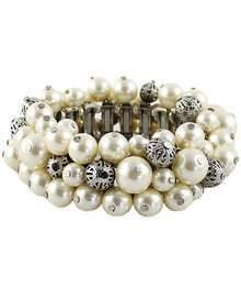 Silver Bead Elastic Bracelet